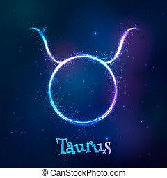 우주의, 빛나는, 네온, 황도대, 황소자리, 파랑, 상징
