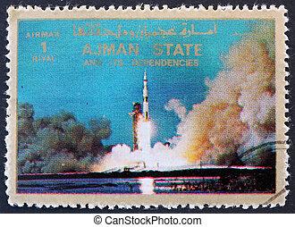 우편 요금, ajman, 로켓, 우표, 1973, v, 토성, 시작하는 것