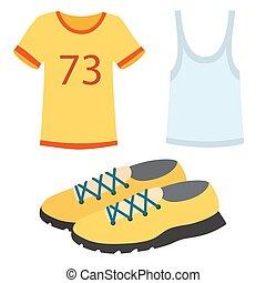 운동복, 운영하는 옷, 주자, 은 설치한다, 치고는, 스포츠, 연습, 벡터, 삽화