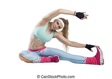 운동을 하고 있는 여성, 에서, 적당