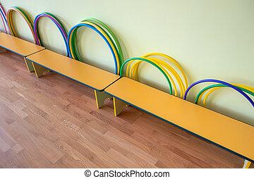 운동회, 학교, gym., 벤치, 내부, 황색