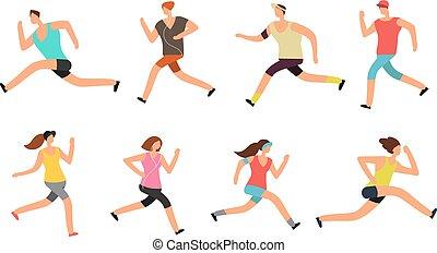 운동 선수, 남자와 여자, running., 정력적이다, 사람, 주자, 에서, 운동복, 벡터, 세트