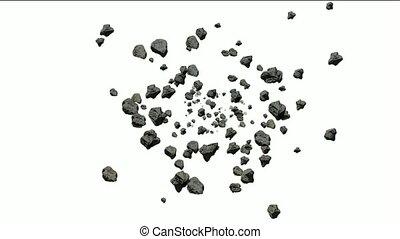 운석, 돌, 텀블링, 3차원