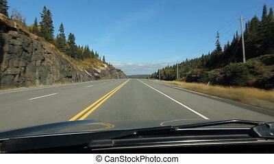 운전, 통하고 있는, 명란한, 온다리오, highway.