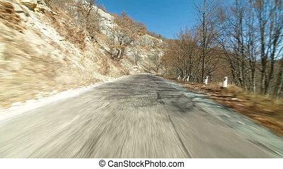 운전, 통하고 있는, a, 우여 곡절, 산 도로