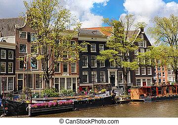 운하, 도시, 네덜란드, 늙은, 암스테르담