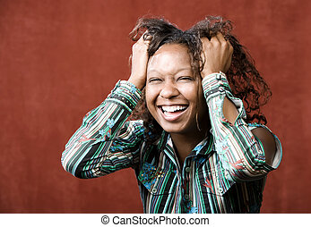웃음, african-american여자