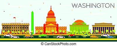 워싱톤 피해 통제, 지평선, 와, 색, 건물, 그리고 푸른색, sky.