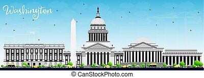워싱톤 피해 통제, 지평선, 와, 회색, 건물, 그리고 푸른색, sky.