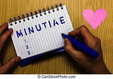 원본, 표시, 전시, minutiae., 개념의, 사진, 작다, 정확한, 또는, 하찮은, 세부, 의, 무엇인가, 제품, 또는, 서비스, 남자, 보유, 표를 붙이는 사람, 노트북, 페이지, 심장, 공상에 잠기는, 메시지, 멍청한, 테이블.