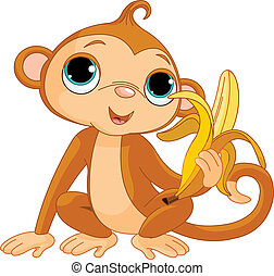 원숭이, 혼자서 젓는 길쭉한 보트, 바나나