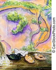 원형, 그림, 의, 즈크 바지, 통하고 있는, water.