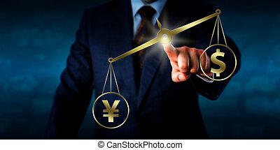 원, outweighing, 그만큼, 달러, 통하고 있는, a, 황금, 균형