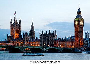 웨스트민스터, 크게, 영국, 벤, 런던