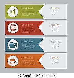 웹사이트, 문자로 쓰는, 배치, infographic., 수, 디자인, 본뜨는 공구, 배너, 또는