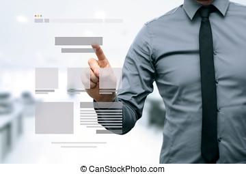 웹사이트, 발달, 디자이너, wireframe, 선물