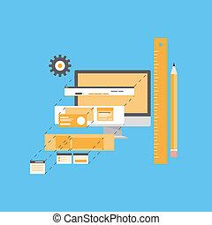 웹사이트, 발달, 삽화, 바람 빠진 타이어