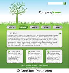 웹사이트, 와, 나무, 통하고 있는, 목초지