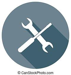 웹, 나사 돌리개, 길게, 효과, 짐, 렌치, icon., 아이콘, 그림자, design.