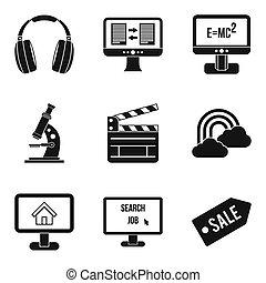 웹, 스타일, 아이콘, 세트, 단일의, 자원