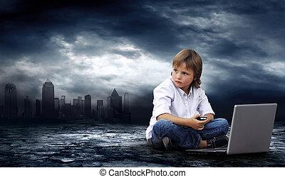 위기, 에서, world., 소년, 와, 휴대용 퍼스널 컴퓨터, 통하고 있는, 어두운 하늘, 와, 번개