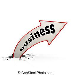 위로의곡선 화살, 빨강, 사업