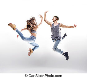 위의, 백색, 한 쌍, 배경, 댄스