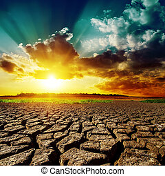 위의, 일몰, 사막, 그것