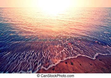 위의, 일몰, sea.