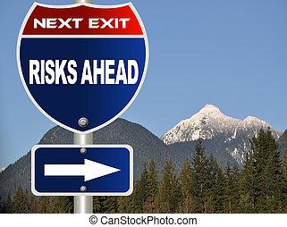 위험, 앞에, 도로 표지