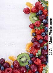 유기체의, 과일, 나무, 신선한, 유익한, 백색, 테이블.