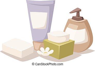 유기체의, 아름다움, 건강, 사발, 라벤더, 목욕, 치료, 치료, vector., 광천, 소금