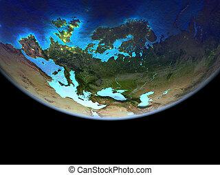 유럽, 통하고 있는, 지구, 에서, 공간