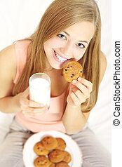 유리, 열대의, 쿠키, 소녀, 우유