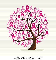 유방암 의식, 개념의, 나무, 와, 핑크, ribbons., eps10, 벡터, 파일, 편성되는, 에서,...