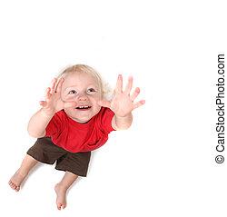 유아, 갓난 남자 아기, 를 위해 도달하는, 그만큼, 하늘