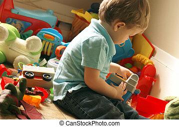 유아, 장난감, 방