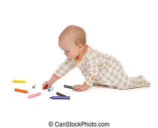 유아, 착석, 아이, 아기 유아, 그림, 그림