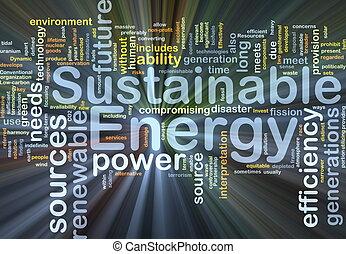 유지할 수 있는, 에너지, 배경, 개념, 백열하는 것