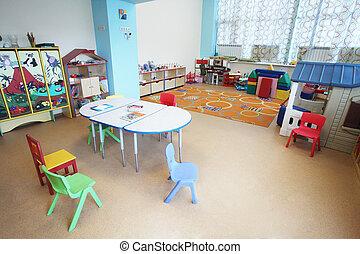 유치원, 교실, 내부, 보육원