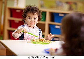 유치원, 점심, 먹다, 아이들