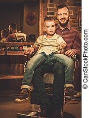 유행, 소년, 와..., 그의 것, 아버지, 에서, a, 이발사 상점