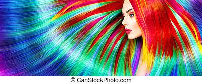 유행, 아름다움, 다채로운, 물들이게 되었던 머리, 모델, 소녀