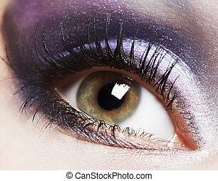 유행, 여성 눈, makeup.