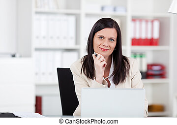유행, 여자 실업가, 에서, 사무실