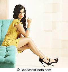 유행, 여자, 와, 아름다운, 다리