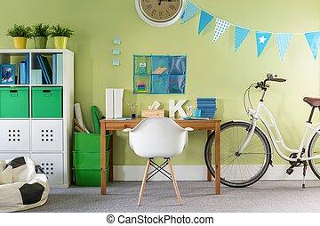 유행, 자전거, 서 있는, 에서, 방