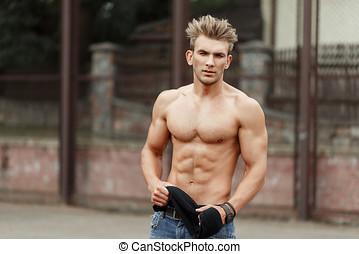 유행, 잘생긴, 청년, 와, 머리형, 와, 아름다운, 적당, 몸, 와, 근육, 거리에