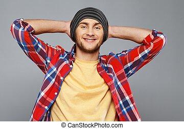 유행, 청년, 에서, 셔츠, 와..., beanie hat