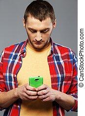 유행, 청년, 와, a, 휴대 전화